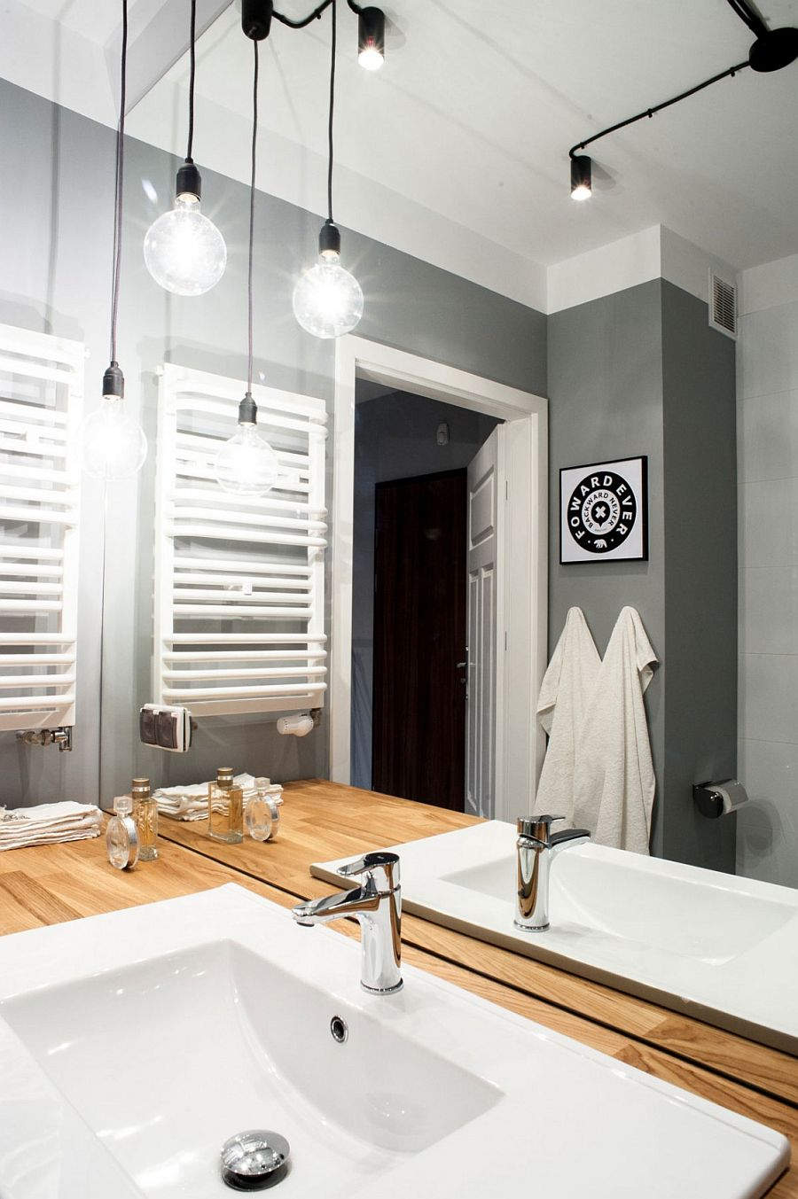 Gray and white create a fabulous bathroom full of personality