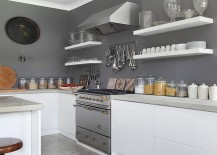 Gray gives the farmhouse kitchen a modern makeover