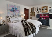 Gray makes a dashing presence in the elegant bedroom [Design: Donna Benedetto Designs]