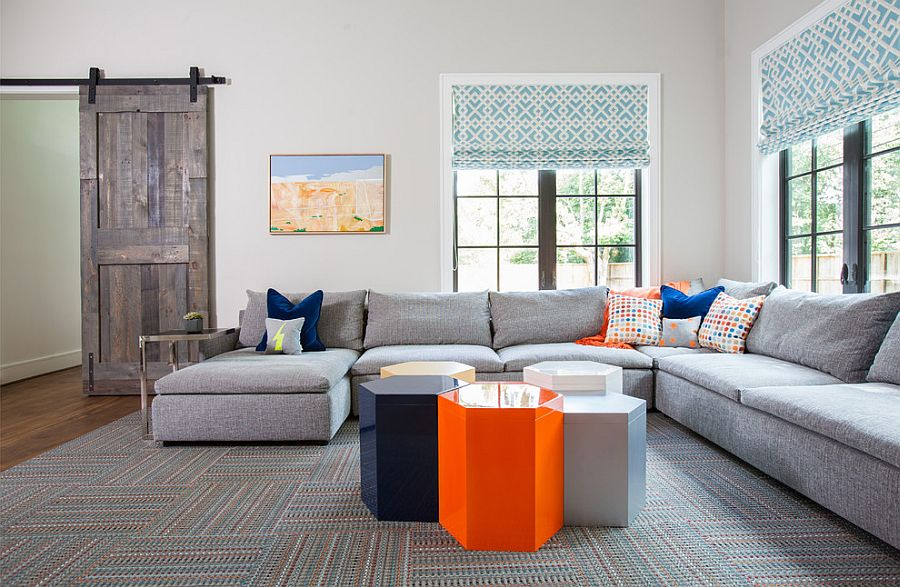 ... Gray Of The Barn Door Blends With The Color Palette Of The Living Room  [Design
