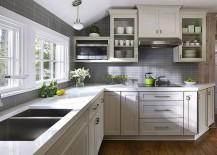 Gray tiles shape a lovely background in the small kitchen