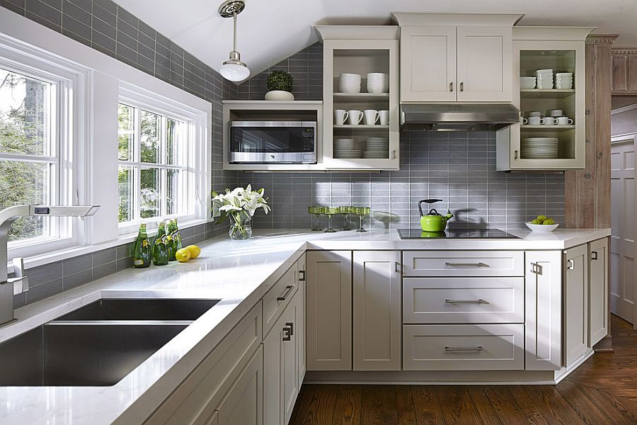 ... Gray Tiles Shape A Lovely Background In The Small Kitchen [Design:  CliqStudios Cabinets]