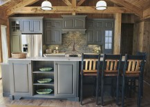 Gray works beautifully in the rustic kitchen as well [Design: Southport Cabinet Company]