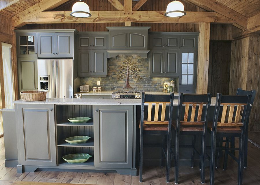 Gray Works Beautifully In The Rustic Kitchen As Well