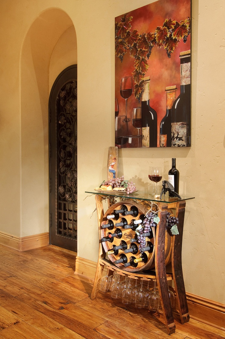 Hall table with wine rack made with an old barrel