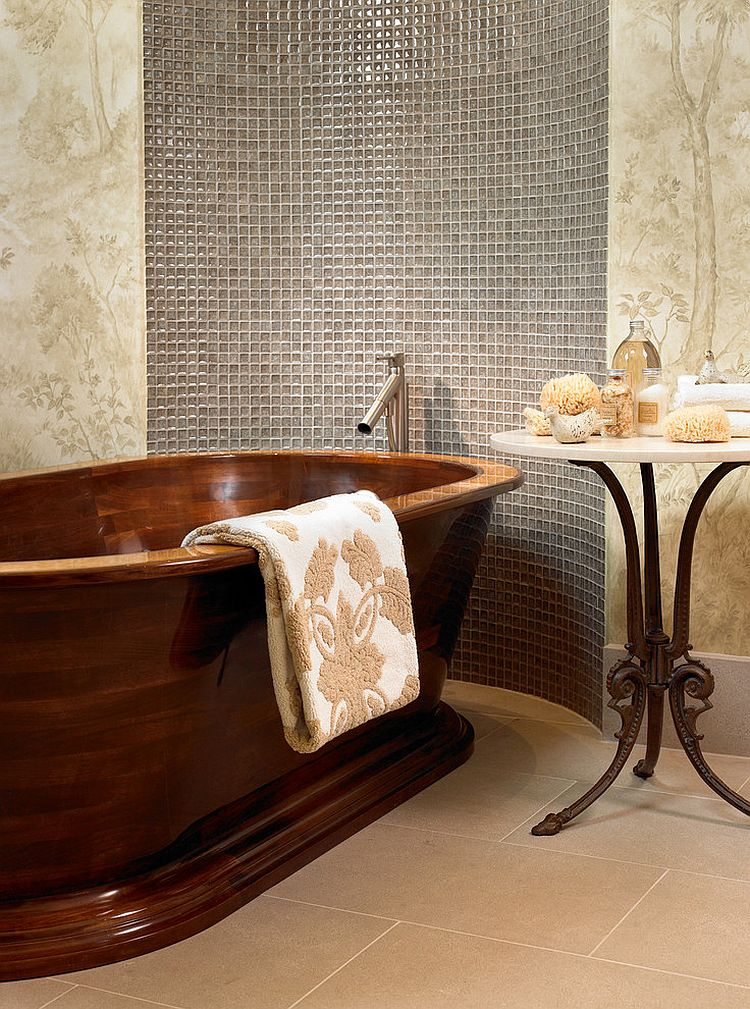Handcrafted walnut bathtub and Satyr side table for the small bathroom [Design: Beckwith Interiors]