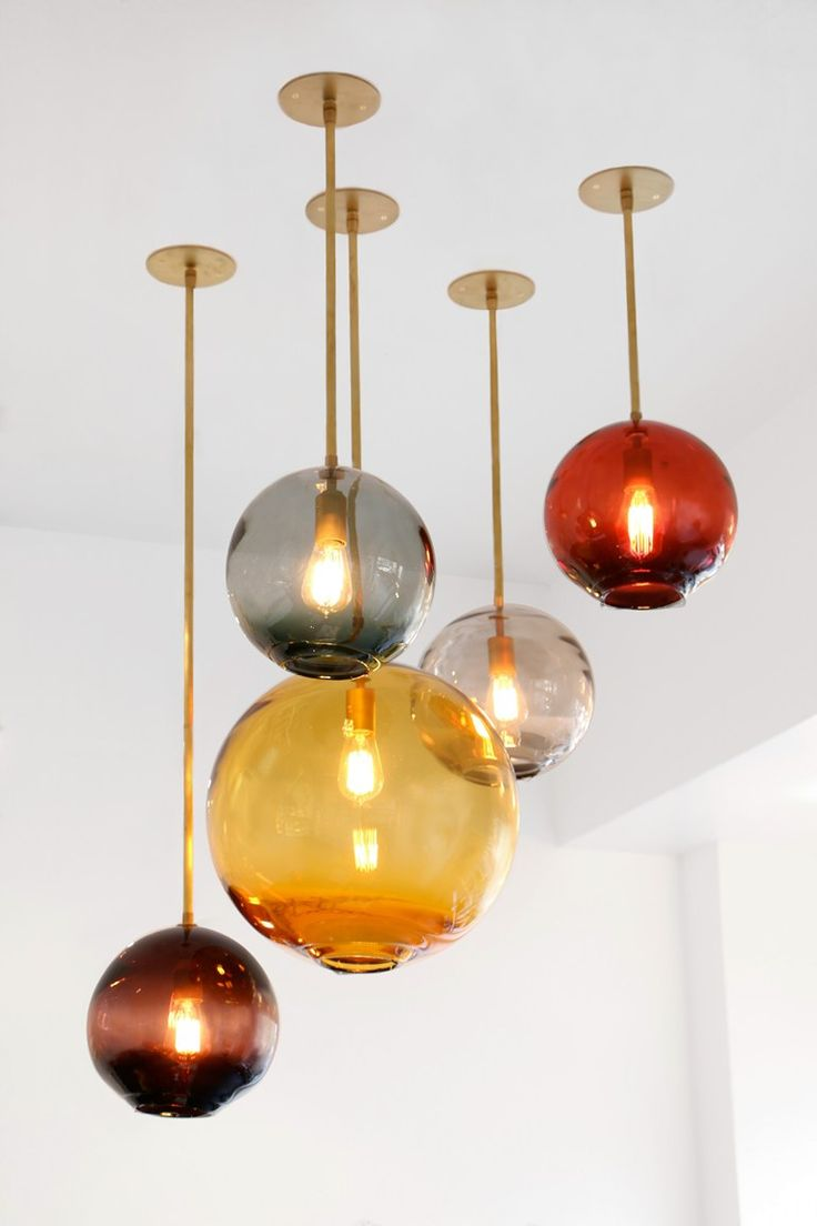 Handmade blown glass pendant lamp Float Collection by SkLO