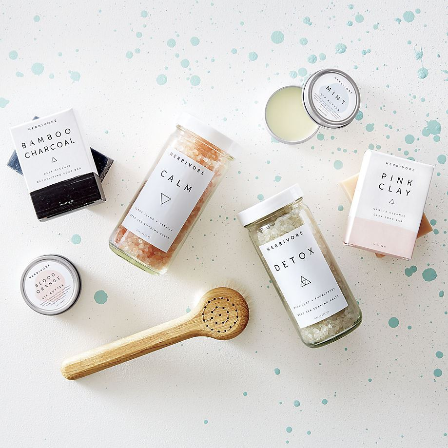 Herbivore bath and body products in modern packaging