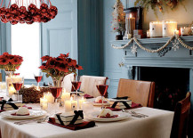 Holiday table featuring Jo Malone candles