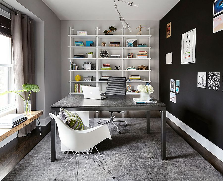 Home office in gray with dark accent wall