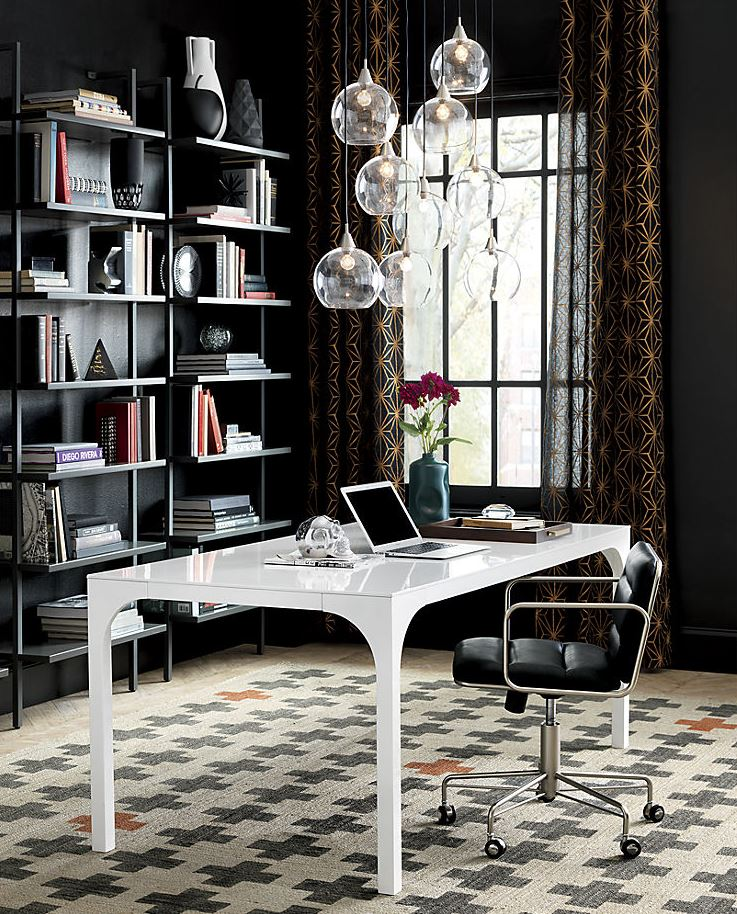 Home office with dark walls