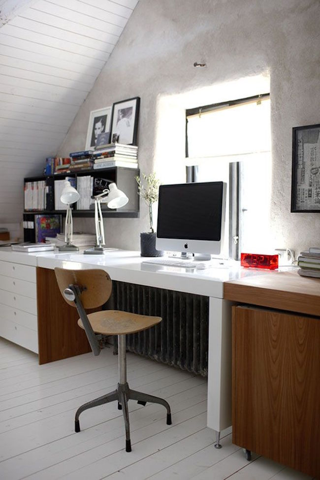 Home office with spacious desk along one wall  15 Bright Attic Spaces for an Office or Studio Home office with spacious desk along one wall