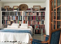 IKEA bookshelves used for wide headboard