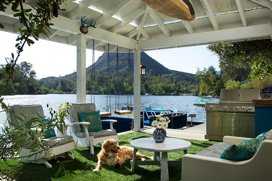 Idyllic lakeside deck flowing into the dock [Design: Shannon Ggem]
