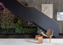 Indoor living wall and water feature adds greenery to the living space