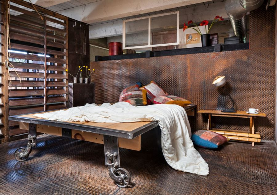 cool industrial furniture. Modren Industrial View In Gallery Industrial Bedroom With Metal Flooring And Walls With Cool Furniture Y