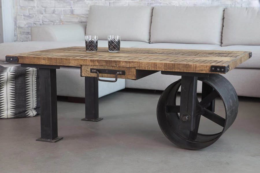 View In Gallery Industrial Coffee Table With Wheel From BARAK 7