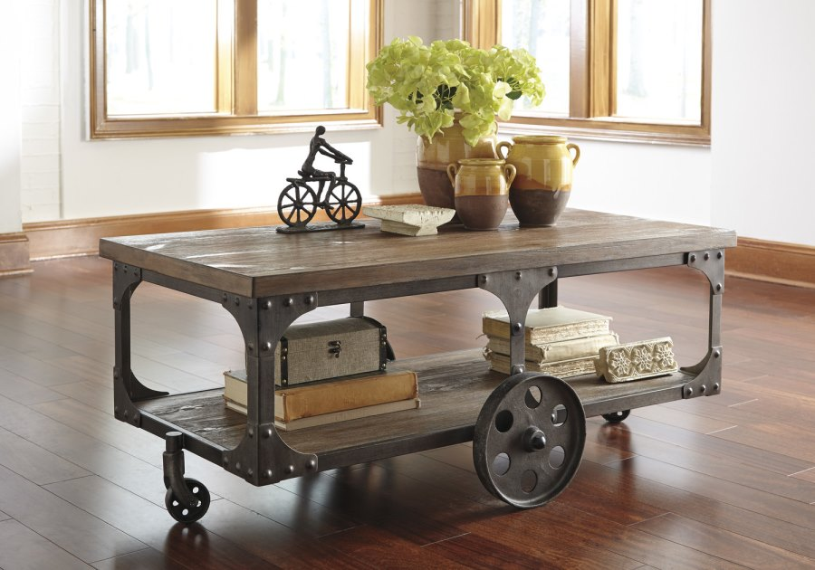 View In Gallery Industrial Coffee Table With Wheels