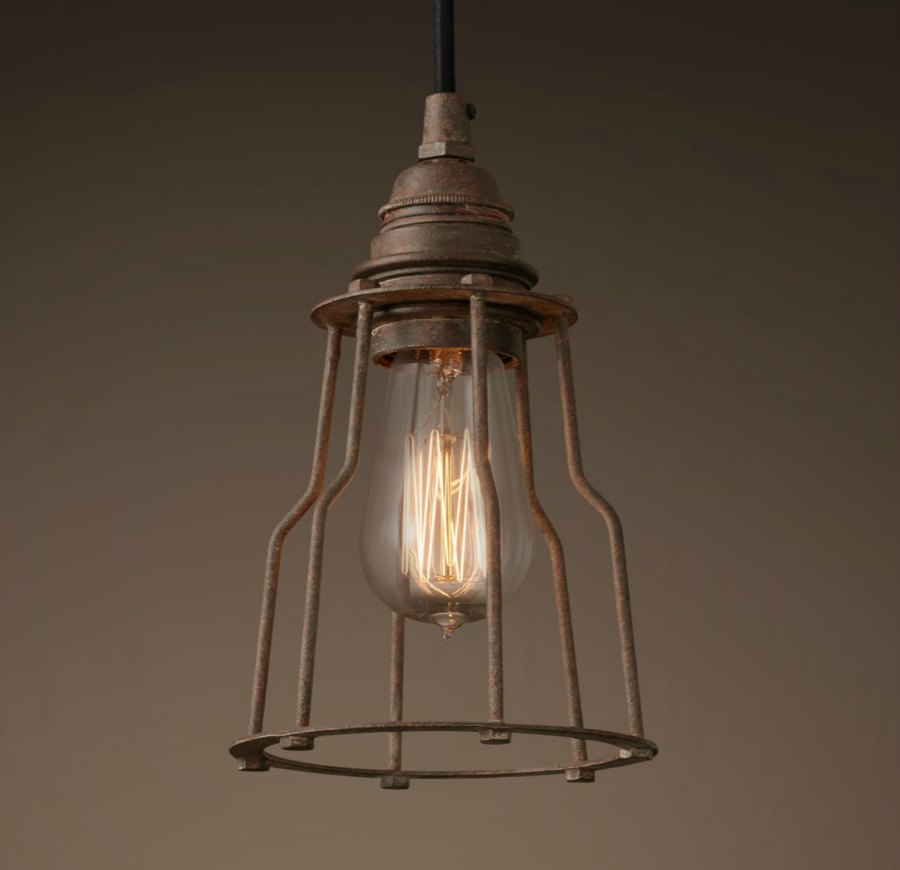 industrial filament pendant light from restoration hardware