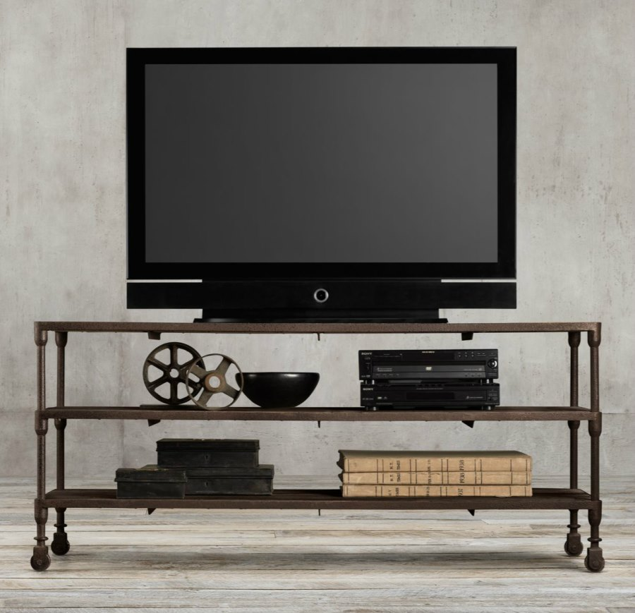 Industrial media console from Restoration Hardware