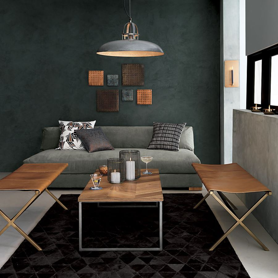 Industrial modern living area by CB2
