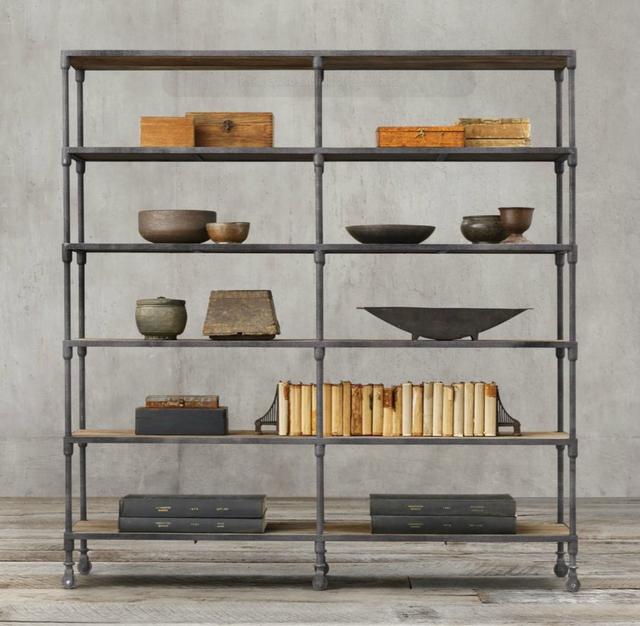 Industrial shelving from Restoration Hardware
