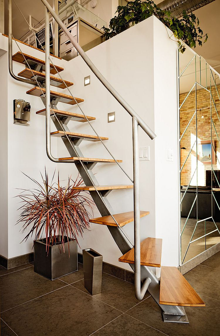 Industrial staircase design for those cramped for space at home [Design: Michael Fitzhugh Architect]