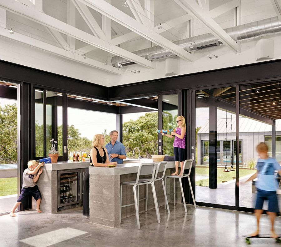 Industrial style interior for the family area with home bar