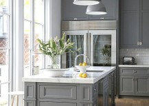 Industrial style pendant lighting for the kitchen in gray [Design: Kitchen & Bath Décor]
