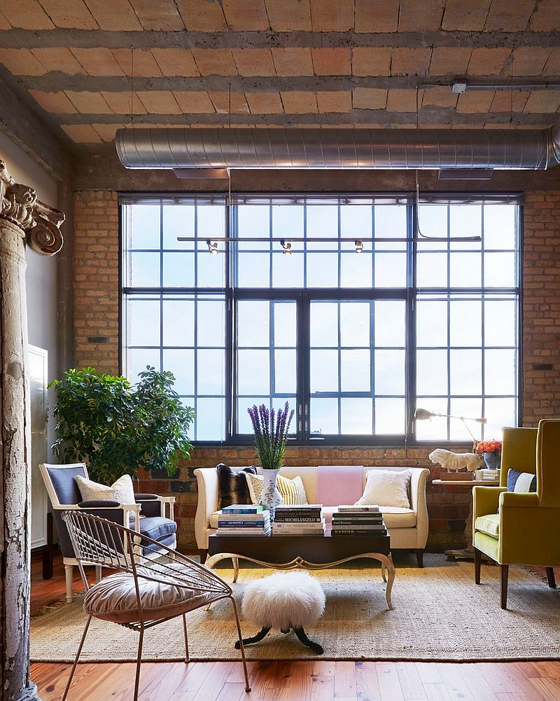 Industrial-style windows for the curated living room [Design: Martha O'Hara Interiors]