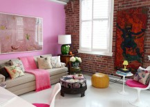 Ingenious living room combines pink with the exposed brick wall visual [Design: The Cross Interior Design]