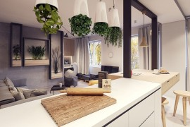 Ingenious way to add greenery to the kitchen and living room  A Throwback to the 60s: Midcentury Décor Fashions Posh Warsaw Home Ingenious way to add greenery to the kitchen and living room 270x180