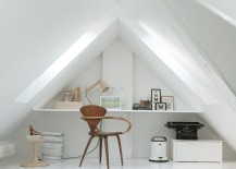 Interesting office desk that takes advantage of attic architecture