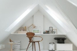 Interesting office desk that takes advantage of attic architecture  15 Bright Attic Spaces for an Office or Studio Interesting office desk that takes advantage of attic architecture 270x180