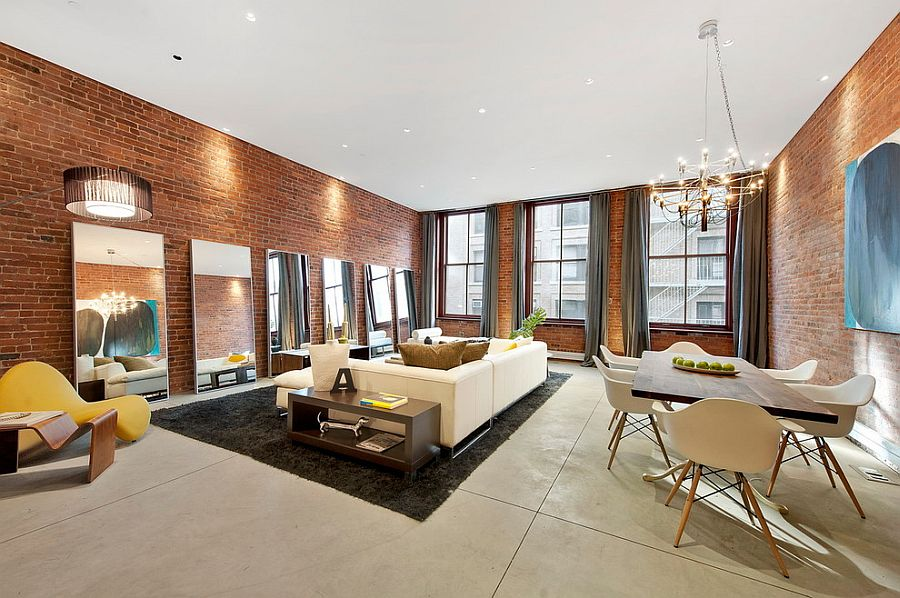 100 brick wall living rooms that inspire your design for Living room nyc