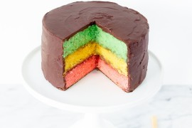 Italian rainbow cookie cake from Studio DIY  From Halloween to Thanksgiving Dinner: Your Fall Holiday Checklist Italian rainbow cookie cake from Studio DIY