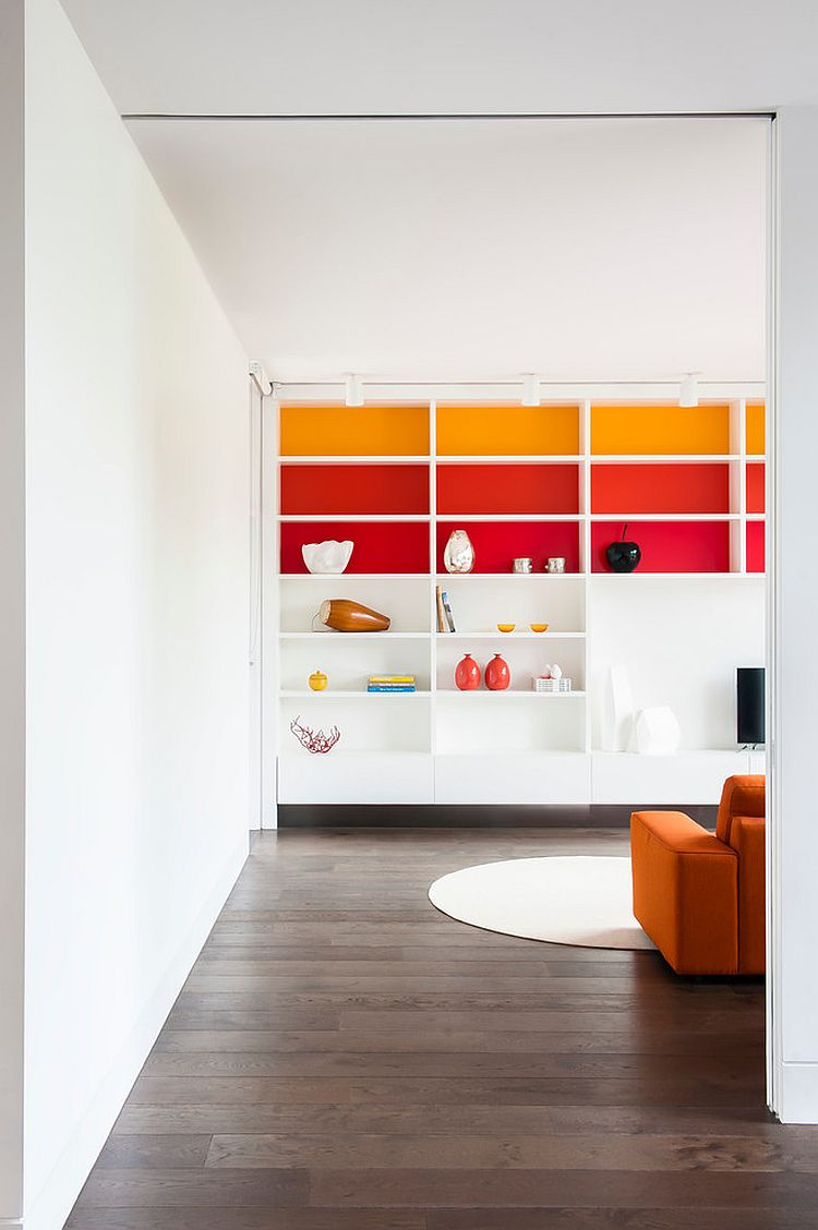 Kids' playroom and family zone with colorful shelves