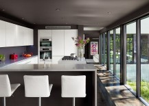 Kitchen ceiling painted in gray for a cozy ambiance [Design: Specht Harpman Architects]