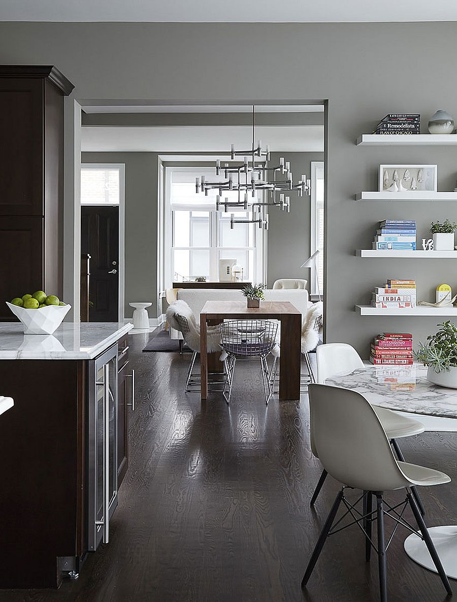 Kitchen, dining room and living room flow into one another beautifully