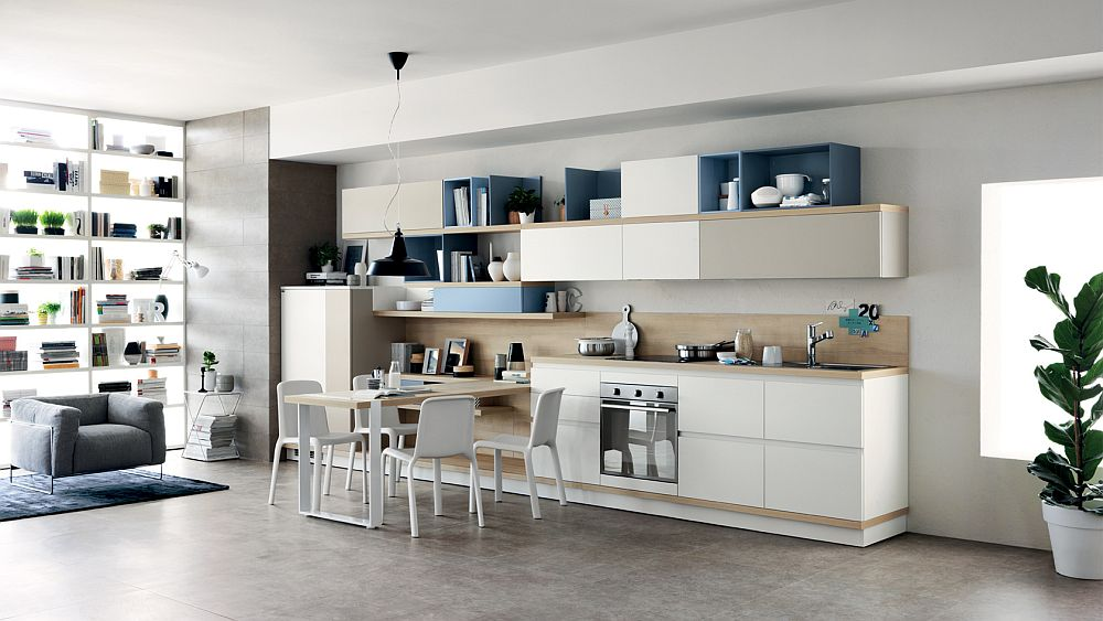 Kitchen dining table and living room workdesk become an integral part of the Foodshelf design
