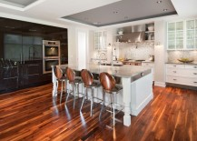 Kitchen with a painted recessed ceiling
