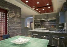 Kitchen with a panelled recessed ceiling