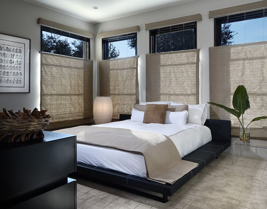 Lantern style lighting is the perfect choice for the Zen bedroom [Design: Phil Kean Design Group]