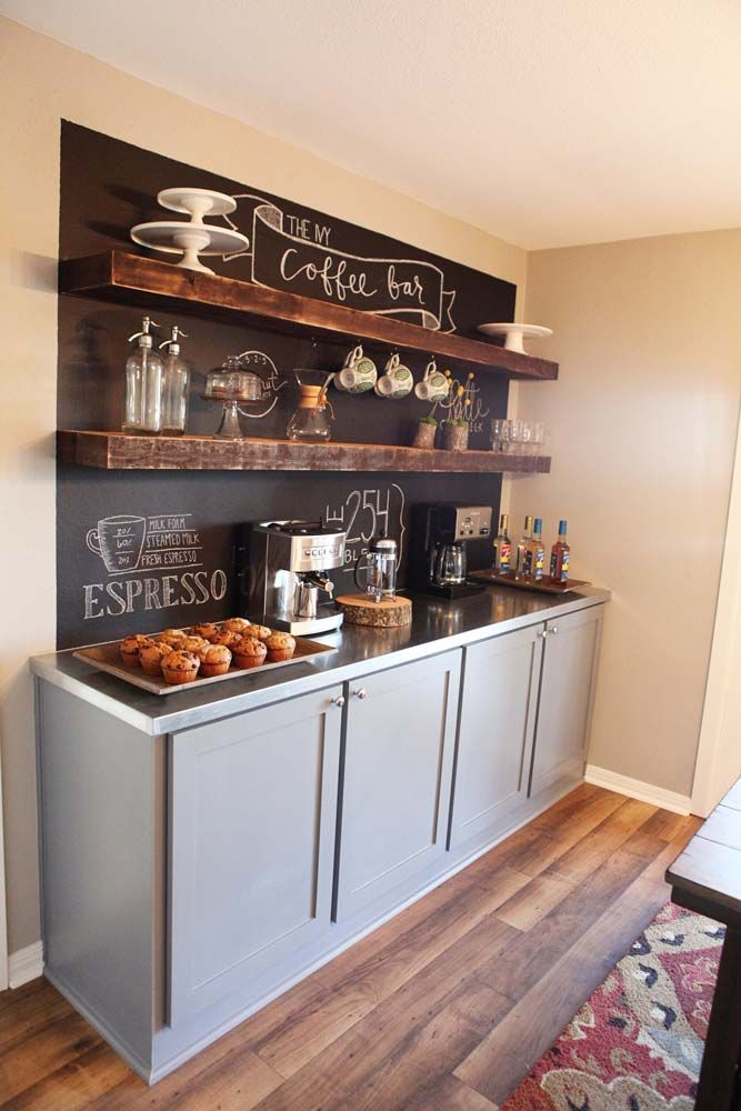Large basement coffee station complete with chalkboard and cabinetry