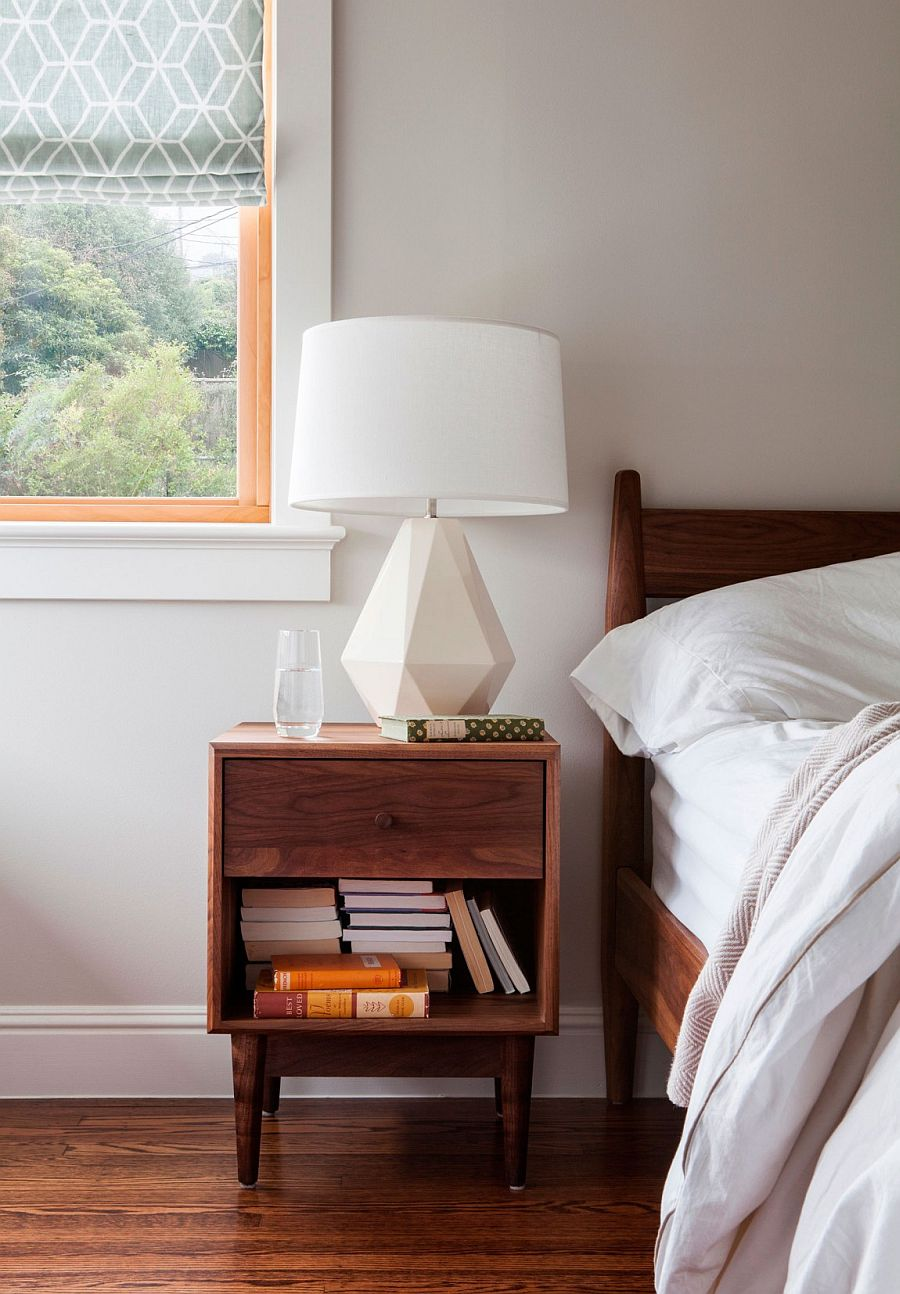 Large bedside lamp brings geometric style to the contemporary bedroom