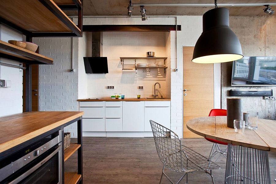 Large industrial-styled pendant light in gray