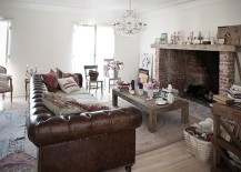 Large leather Chesterfield Sofa sits at the heart of eclectic living room [From: Rachel Ashwell Shabby Chic Couture]