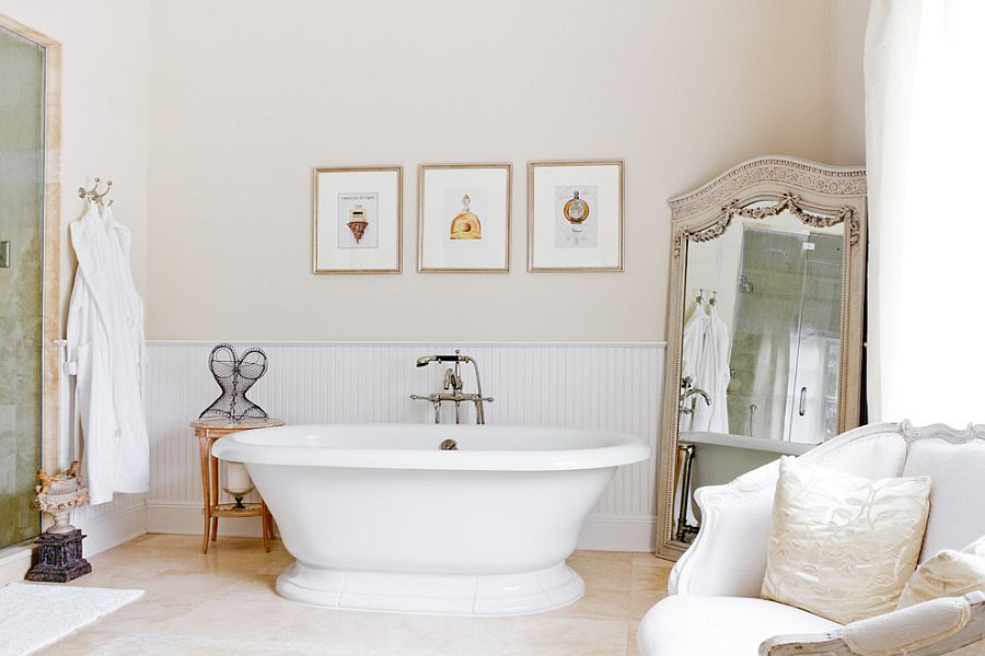 Large vintage mirror in the bathroom corner [Photography: Rikki Snyder]