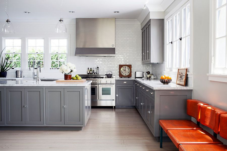 Gorgeous Gray Kitchens That Usher In Trendy Refinement - Light gray cabinets in kitchen