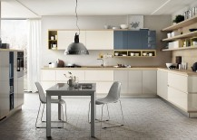 Latest generation of kitchen shelves from Scavolini that also venture in the living room